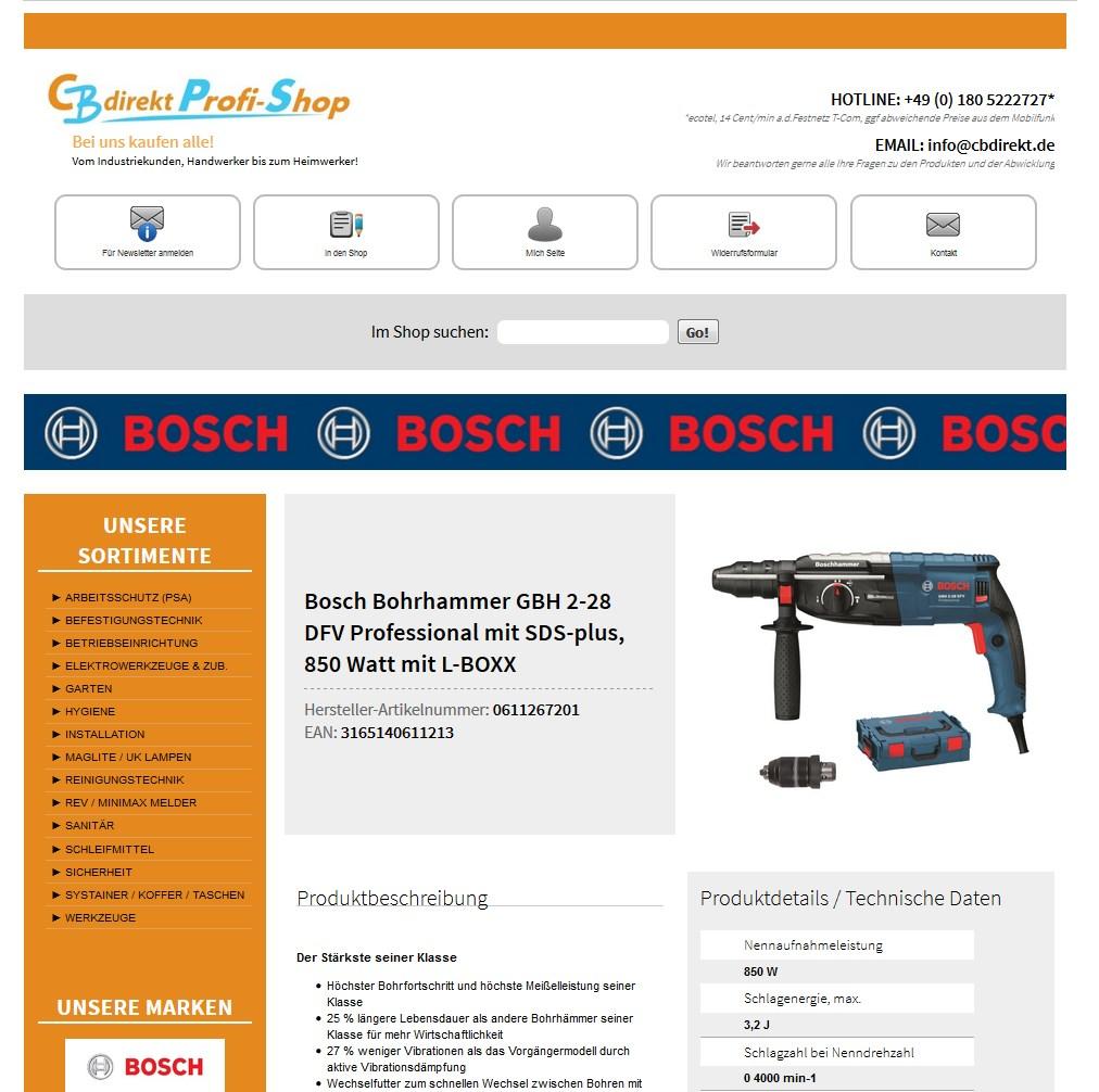 Neue Artikelansicht von CBdirekt in Ebay
