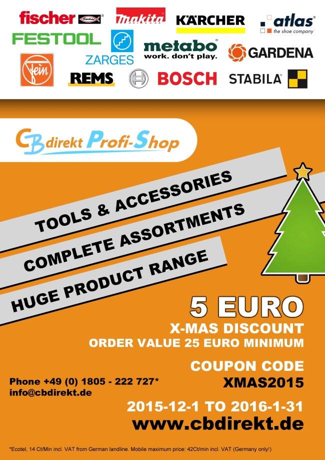 CBdirekt Werkzeug Shop Coupon Code Promotion X-MAS 2015
