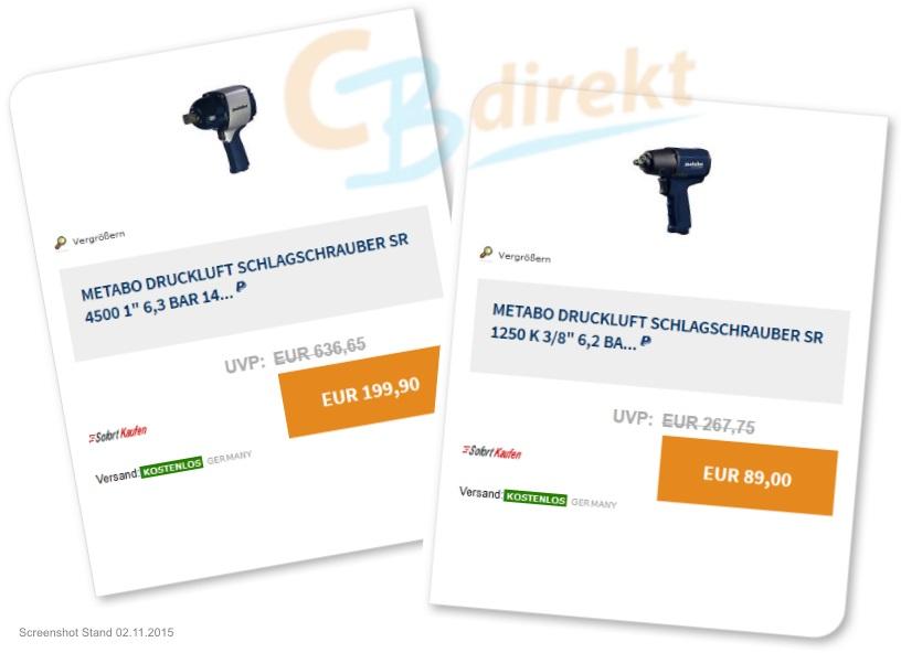 Metabo Druckluft Schlagschrauber BLAU bei eBay - CBdirekt
