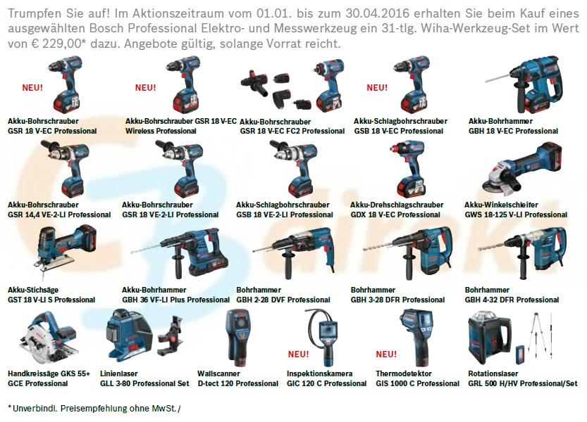 Bosch Elektrowerkzeuge + Wiha Zugabe Übersicht