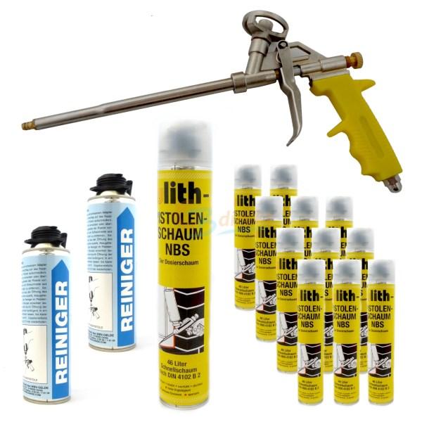 NBS Bauschaum Pistolenschaum Set #2 mit Reiniger und Sprühpistole