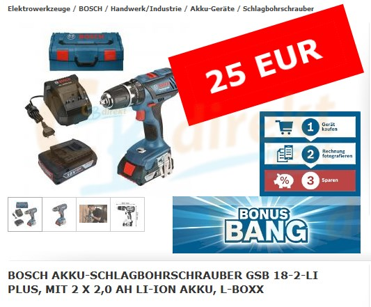 Bosch GSB 18-2-LI Plus Bonus Bang März 2016