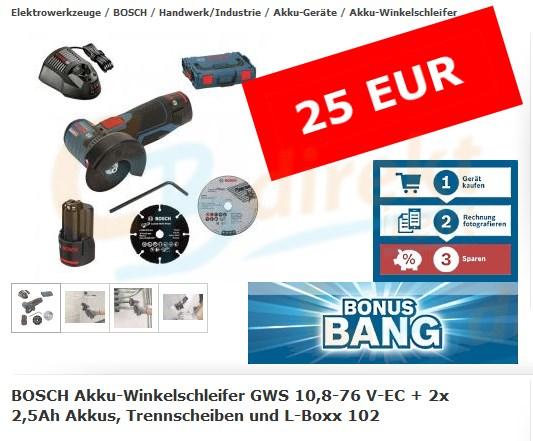 Bosch GWS 10,8-76 V-EC Bonus Bang März 2016