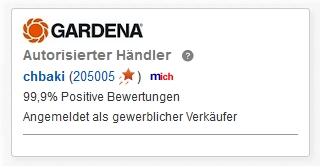 CBdirekt ist autorisierter GARDENA Händler in ebay