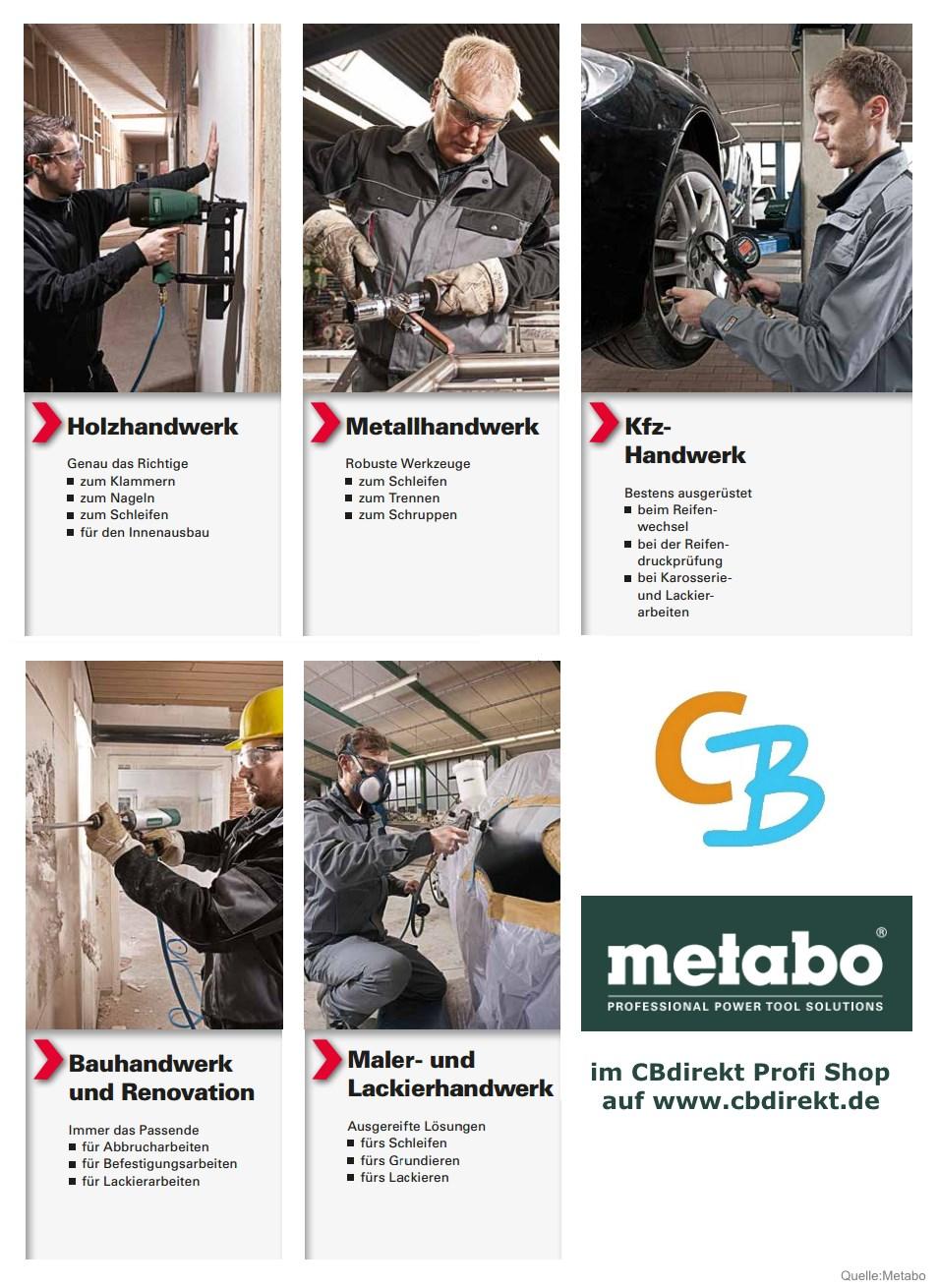 Metabo Drucklufttechnik Anwendungsgebiete