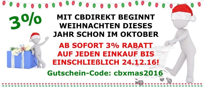 CBdirekt Weihnachts-Aktion 3% auf Alles!