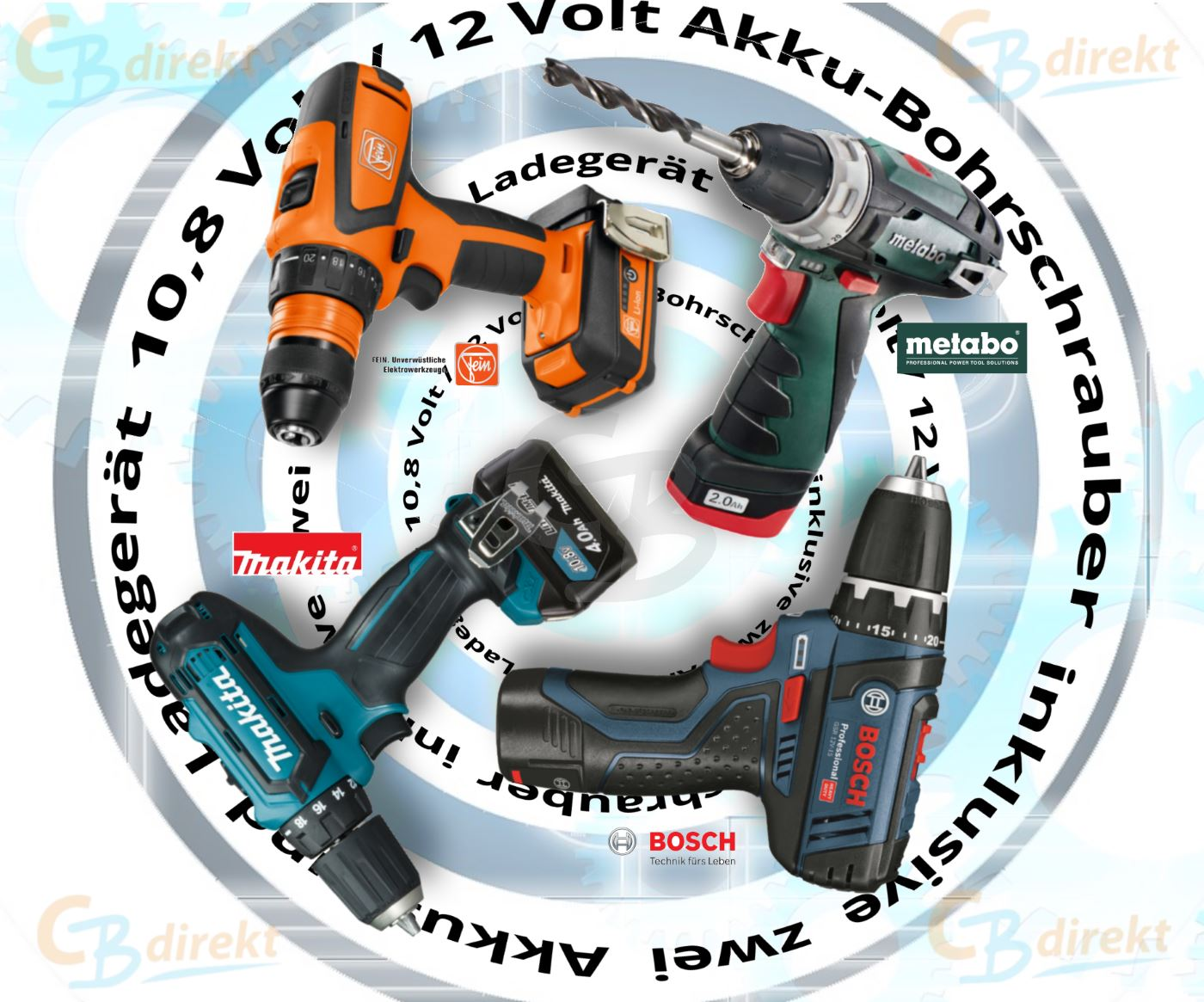 Vergleich Akku-Bohrschrauber 10,8 Volt bzw. 12 Volt Bosch Fein Makita Metabo