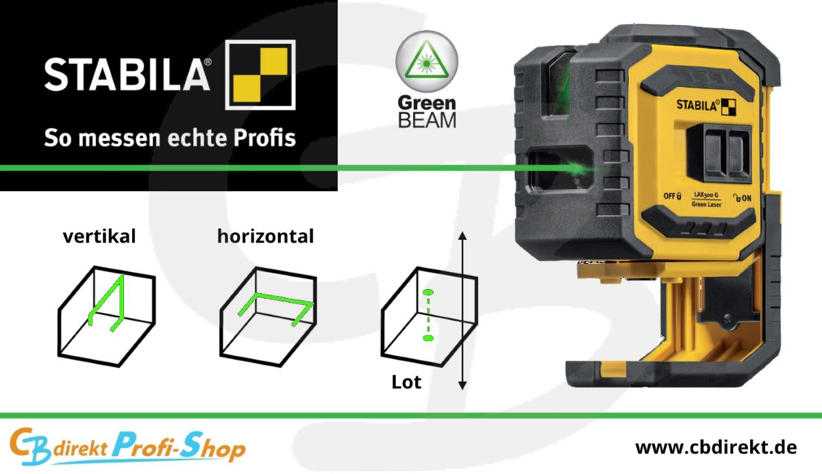 STABILA LAX 300 G Kreuzlinien Laser GREAN BEAM