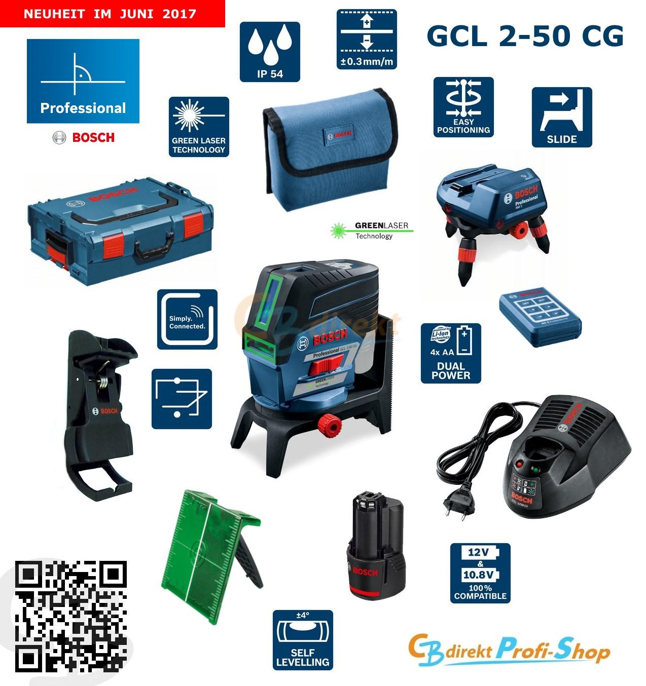 Bosch GCL 2-50 CG Set 06159940JN_inkl. RM 2, RM 3 und Deckenklemme