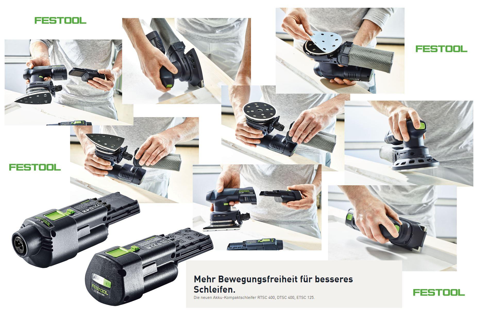 festool bringt neue akku-kompaktschleifer rtsc 400, dtsc 400 und