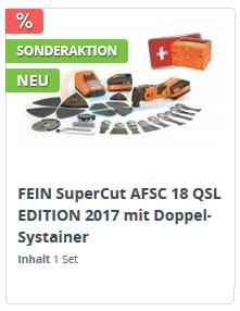 FEIN AFSC 18 QSL Jubiläums Edition 2017 mit Doppel-Systainer