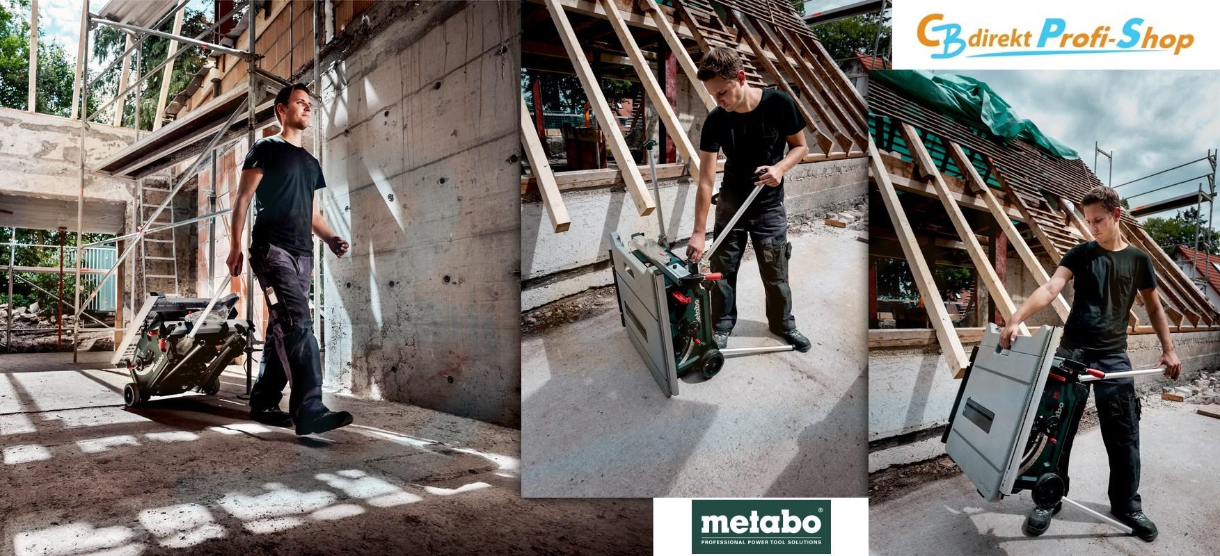 Metabo Akku-Tischkreissäge mit Trolleyfunktion und Aufbau