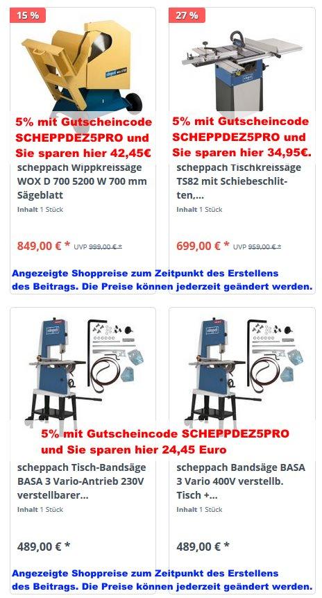 Scheppach Angebote mit Gutscheincode SCHEPPDEZ5PRO