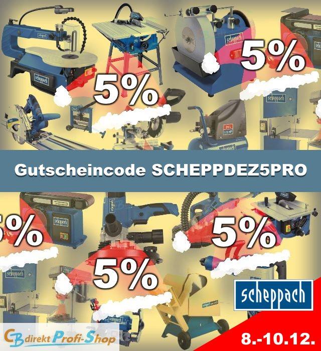 CBdirekt Gutschein-Aktion Scheppach 5% SCHEPPDEZ5PRO