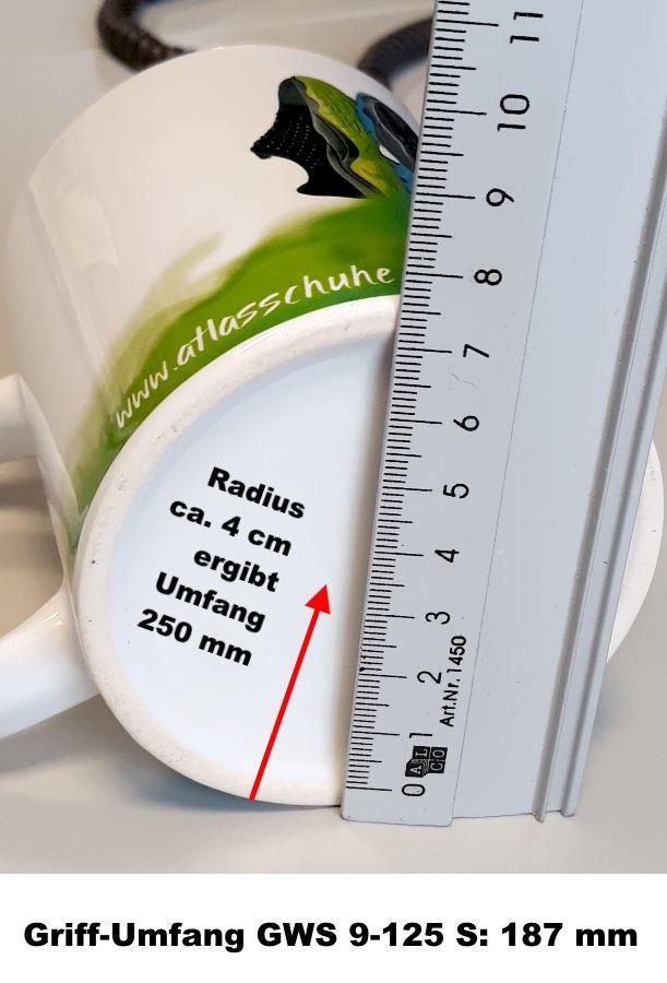 atlas Tasse für Vergleich Umfang mit Bosh GWS 9-125 S