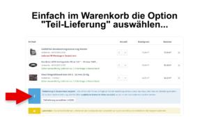 CBdirekt Warenkorb Option Teillieferung