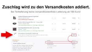 CBdirekt Warenkorb Option Teillieferung ausgewählt