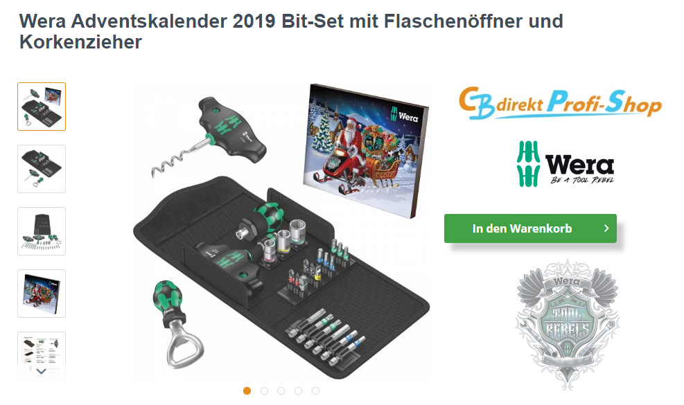 Wera Adventskalender 2019 im CBdirekt Profi Shop