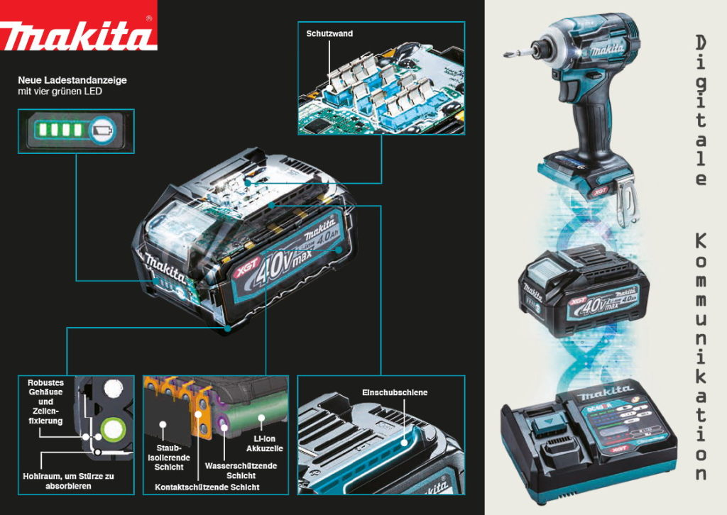 Makita XGT 40V max. digitale Kommunikation
