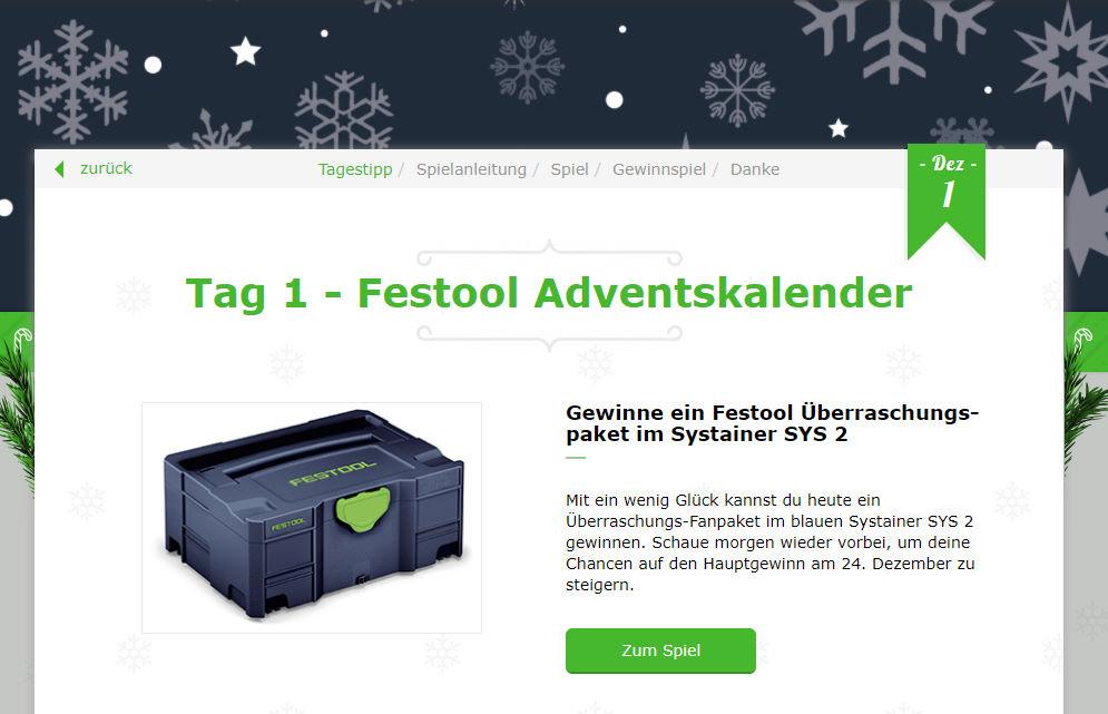 Festool Online-Adventskalender Gewinnspiel 2020 Tag 1
